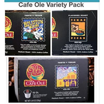 Cafe Ole K-Cup VARIETY 72 k- cups (24 San Antonio; 24 Houston; 24 Texas Pecan)