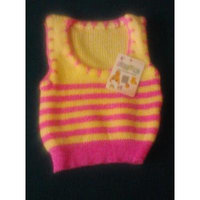 My Little Princess Baby Baby Sleeveless Sweater One Size (Yellow with Pink Stripes)