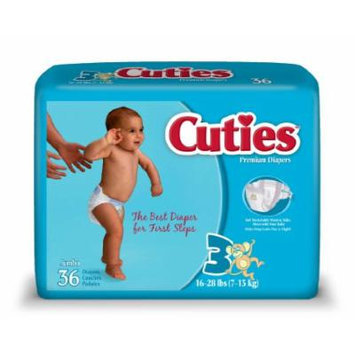 Cuties Jumbo Pack Diaper, Size 3, 144 Count