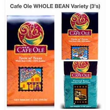 Cafe Ole Whole Bean Variety Pack San Antonio, Houston and Texas Pecan (Pack of 3)