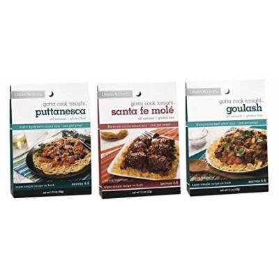 Urban Accents All Natural Gluten Free Gotta Cook Tonight One Pot Sauce Mix 3 Flavor Variety Bundle: (1) Urban Accents Goulash Hungarian Beef Stew Mix, (1) Urban Accents Santa Fe Mole Mexican Cocoa Sauce Mix, and (1) Urban Accents Puttanesca Rustic...