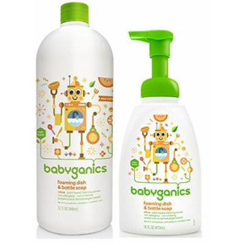 Babyganics 16 Ounce Citrus Scented Dish Dazzler Foaming Dish and Bottle Soap with Refill Kit