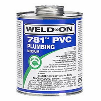 Weld-On 14008 1/2 Pint 781 Medium Body PVC Cement, Clear, 1-Pack
