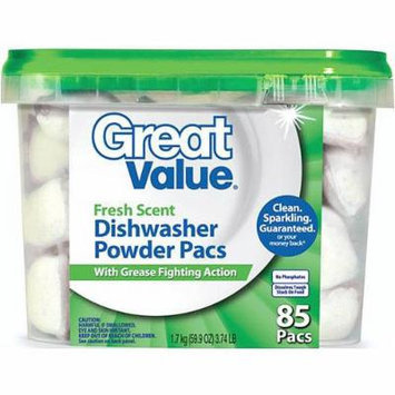 Great Value Fresh Scent Dishwasher Powder Pacs With Grease Fighting Action, 85ct