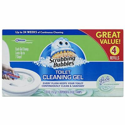 Scrubbing Bubbles Glade Rainshower Toilet Cleaning Gel, 4 Count