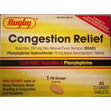 [3 PACK] RUGBY® CONGESTION RELIEF PE (IBUPROFEN 200MG & PHENYLEPHRINE 10MG) PAIN RELIEVER & NASAL DECONGESTANT 20 COATED TABLETS PER BOX *COMPARE TO THE SAME ACTIVE INGREDIENTS FOUND IN ADVIL® CONGESTION RELIEF & SAVE!*