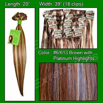 Pro Extensions #6/613 Chestnut Brown w/ Platinum Highlights - 20 inch Remi Set - 100% Human Hiar Extension Grade A+