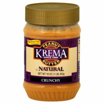 Krema Natural Crunch Peanut Butter, 16-Ounce (Pack of 6)