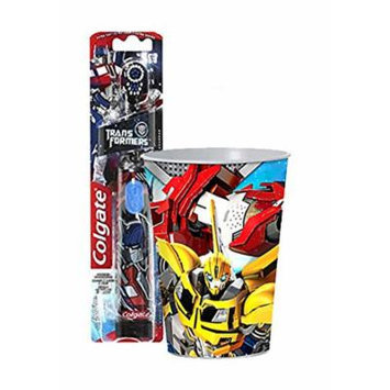 Transformers Inspired 2pc. Bright Smile Oral Hygiene Set! (1) Transformers Battery Powered Turbo Spin BrushPlus Bonus Transformers Mouth Wash Rinse Cup!