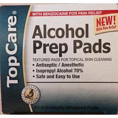 2 BOXES-Topcare Alcohol Prep Pads, with 6% Benzocaine for Pain Relief (2 Boxes)