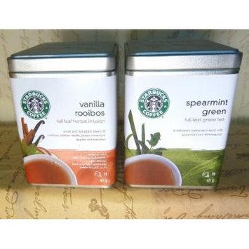Starbucks 2 Tea Tins * VANILLA ROOIBOS & SPEARMINT GREEN * Full Leaf , 2 X 190 Grs ,Fresh