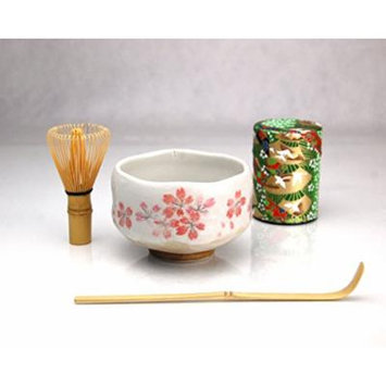 Ryu Mei Beginner Kyoto Ceremony Green Tea Set with Organic Matcha Green Tea Powder, Chawan Tea Set Bowl Bamboo Spoon Bamboo Whisk and a Washi Caddy Tin 527-24 Japan Green Crane