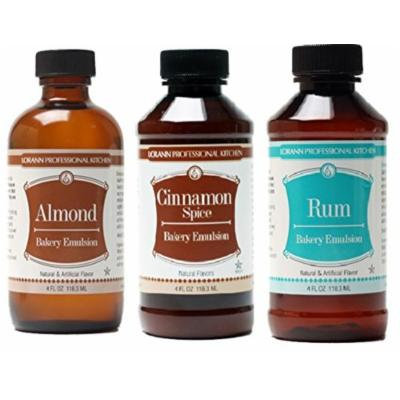 LorAnn Oils Gourmet Bakery Emulsion Almond, Cinnamon Spice and Rum Bundle 4 Ounce Bottles (Pack of 3)