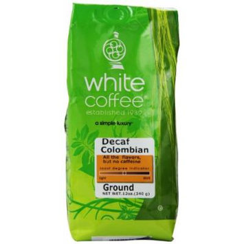 White Coffee Ground Coffee, Decaffeinated Colombian, 12 Ounce