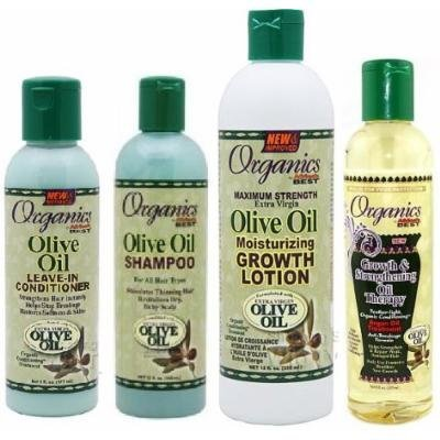 Afric'as Best Olive Oil Organics 4 Pcs Set (Shampoo, Leave-in Conditioner, Growth Lotion, Growth and Strengthening Oil Therapy) Plus 3 Free of Apple Eye Pencil Color: Grey