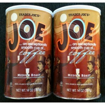 Trader Joe's Joe Coffee, Medium Roast, 100% Arabica Whole Bean Coffee with an Exceptionally Smooth CUP of Coffee - 2 Pack of 14 Oz