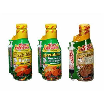 Tony Chachere Injectable Marinade Variety Pack, Butter Jalapeno and Roasted Garlic, 3 Count