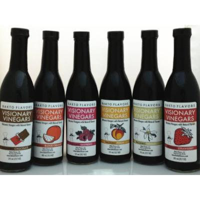 Visionary Vinegars - Kosher Balsamic Vinegars with Natural Flavors - 12.7 FL OZ - (Set of 6), Blood Orange, Chocolate, Peach, Raspberry, Strawberry Vanilla,