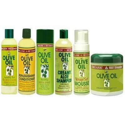 ORS Olive Oil Jumbo Set (Shampoo, Conditioner, Oil Moisturizer, Sheen Spray, Mousse, and Hairdress) Plus 2 Free of Apple EYE Pencil Color: Silver Violet