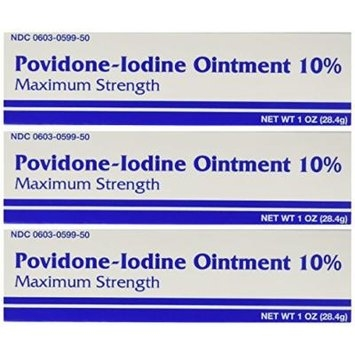 Major Pharmaceuticals Povidine Iodine Usp First Aid Ointment for Cuts, Scrapes and Burns, 3 Count