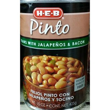 HEB Pinto Beans with Jalapenos & Bacon 15 Oz (Pack of 3)
