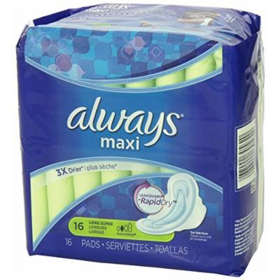 Always Maxi Pads Long Super with Flexi-Wings 16ct (Pack of 3)