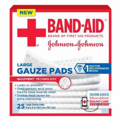 Band-Aid First Aid Gauze Pads, Large (4 Inch x 4 Inch) 25 ea Pack of 4