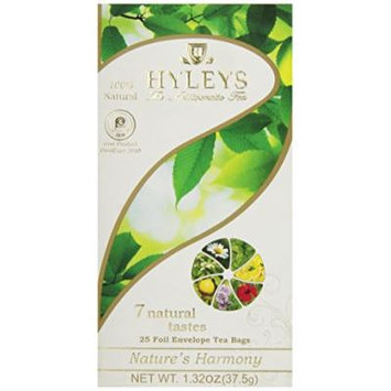 Hyleys Tea Nature's Harmony Tea Bags with 7 Natural Tastes In Foil Envelopes, 1.32-Ounce Packages (Pack of 12)