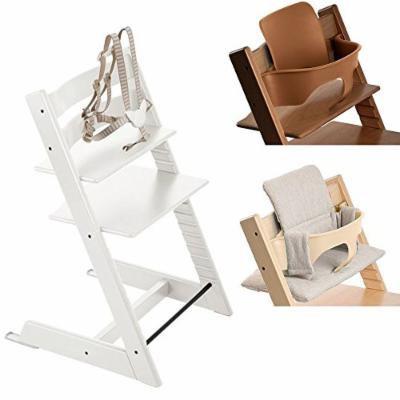 Stokke White Tripp Trapp Chair w Grey Loom Cushion & Baby Set (Walnut Brown)