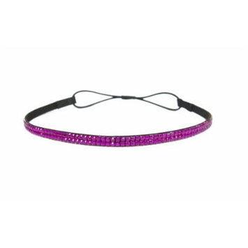 Two Row Bling Rhinestone Headband/ Elastic Stretch/ Rhinestone Hair Band Hair Accessory (Magenta Thin Headband)