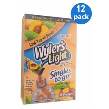 Wyler's Light ICED TEA with PEACH Natural Flavors Soft Drink Mix Sugar Free 8 Sticks In Each Box (12 Pack)...GL