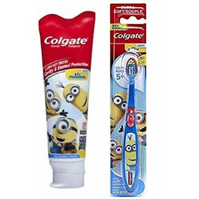 Colgate Minions Mild Bubble Fruit Fluoride Toothpaste, 4.6 oz + Colgate Despicable Me Minions Kids Toothbrush