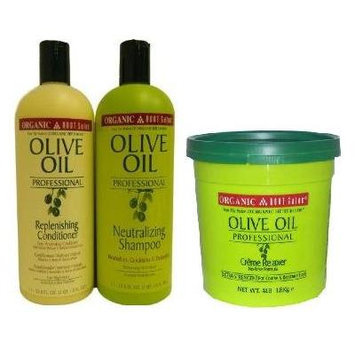 Organic Root Stimulator Professional Salon 3PCS SET (Neutralizing Shampoo 33.8 oz, Replenishing Conditioner 33.8 oz, and Creme Relaxer 4Lbs) Includes free African Pride Gel (NORMAL STRENGTH RELAXER)
