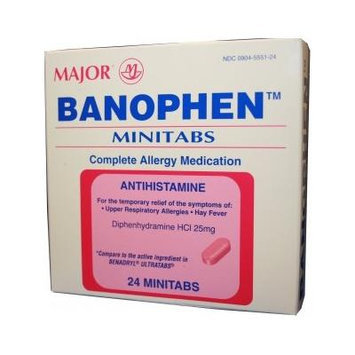 MAJOR® BANOPHEN 25MG DIPHENHYDRAMINE ANTIHISTAMINE MINITABS *COMPARE TO THE SAME ACTIVE INGREDIENTS FOUND IN BENADRYL® & SAVE! *