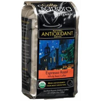 Caffe Sanora Organic Antioxidant-Rich, Espresso Roast Whole Bean Coffee, 12-Ounce Bags (Pack of 3)