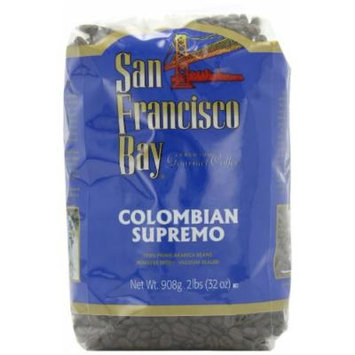 San Francisco Bay Coffee Whole Bean, Colombian Supremo, 32 Ounce (Pack of 2)