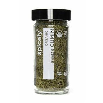 Spicely Organic Cumin Seeds Whole - Glass Jar - Gluten Free - Non GMO - Vegan - Kosher