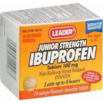 Leader Junior Strength Ibuprofen Orange Chewable Tablets 24 ct (pack of 2)