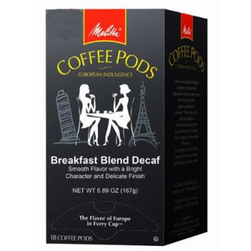 Melitta Coffee Pods, Breakfast Blend Decaf, Light Roast, 18-Count (Pack of 4)