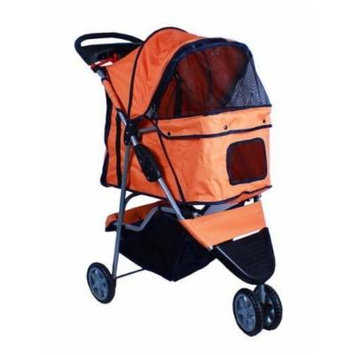 New Deluxe Folding 3 Wheel Pet Stroller Dog Cat Carrier w Cup Holder Tray -Orange