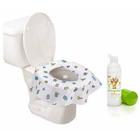 Summer Infant Keep Me Clean Disposable Potty Protectors, Green/White, 40-Count with Hand Sanitizer