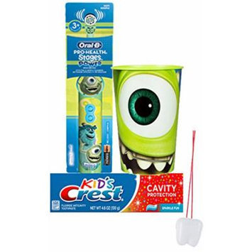 Disney Pixar Monsters Inc. Inspired 3pc Bright Smile Oral Hygiene Set! Includes: Monsters Inc. Turbo Powered Toothbrush, Crest Kids Sparkle Fun Toothpaste & Mouthwash Rinse Cup! Plus Bonus