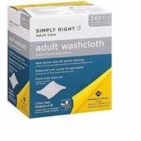 Simply Right Adult Washcloths - 240 ct . 5 pack