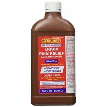 Gericare Acetaminophen Cherry Flavored Liquid 16 Oz bottle Pack of 4