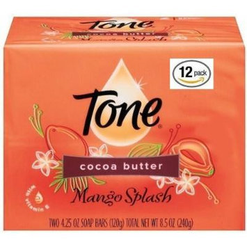 Tone Soap Bar, Cocoa Butter, 12 Bars Total (Packaging may vary), 4.25 Oz per bar (Mango Splash)
