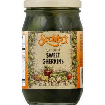 Sechlers, Pickle Cnyd Swt Gherkins, 16 OZ (Pack of 6)