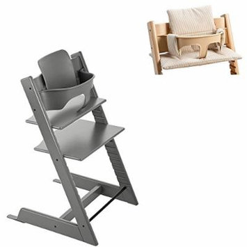 Stokke Tripp Trapp Chair w Baby Set & Tripp Trapp Cushion in Beige Stripe (Storm Grey)