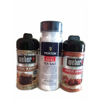 Weber Seasoning: Garlic Sriracha 6.2oz (1) Steak 'N' Chop 6oz(1) and Mortin Sea Salt 140z (1)