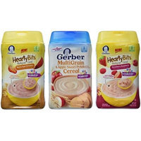 Gerber Baby Cereal 3 Flavor Variety Bundle: (1) Gerber Hearty Bits Banana Apple Strawberry Multigrain Cereal, (1) Gerber Multigrain & Apple Sweet Potato Cereal, and (1) Gerber Hearty Bits Strawberry Raspberry Multigrain Cereal, 8 Oz. Ea. (3 Cereal Boxes)