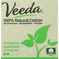 Veeda - Regular Tampons with Applicator - Natural Cotton - 16 Count Boxes (Pack of 3)